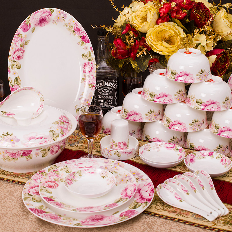 Pink Rose Dinnerware Sets of 56 Bone China Dinnerware Set Tableware Dishes Plates Set for Marriage Wedding Gifts Home Hotel-in Dinnerware Sets from Home ...  sc 1 st  AliExpress.com & Pink Rose Dinnerware Sets of 56 Bone China Dinnerware Set Tableware ...