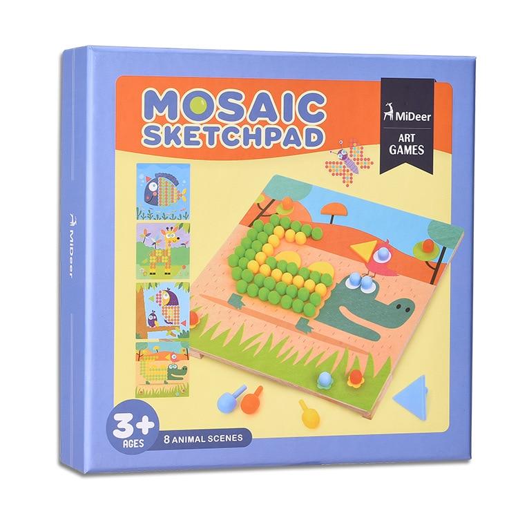 Mideer 8 Styles Mosaic Sketchpad DIY Board Children Mushrooms Combination Board Puzzle Baby Educational Toys