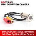 """BOAVISION Nova Atualização 1/4 """"550TVL CMOS 3.6mm Lente Câmera Doorview CCTV Porta Eye Buraco Instalar Mini Color Segurança câmera"""