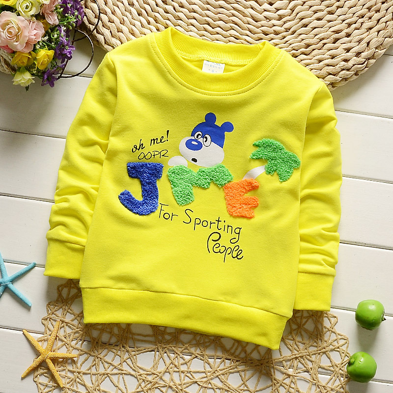 Retail Autumn Spring Sweatshirt Children Girls Boy Clothes Cotton Sports Suit Cartoon Print Kids Clothing Long Sleeve T-Shirt цена 2017