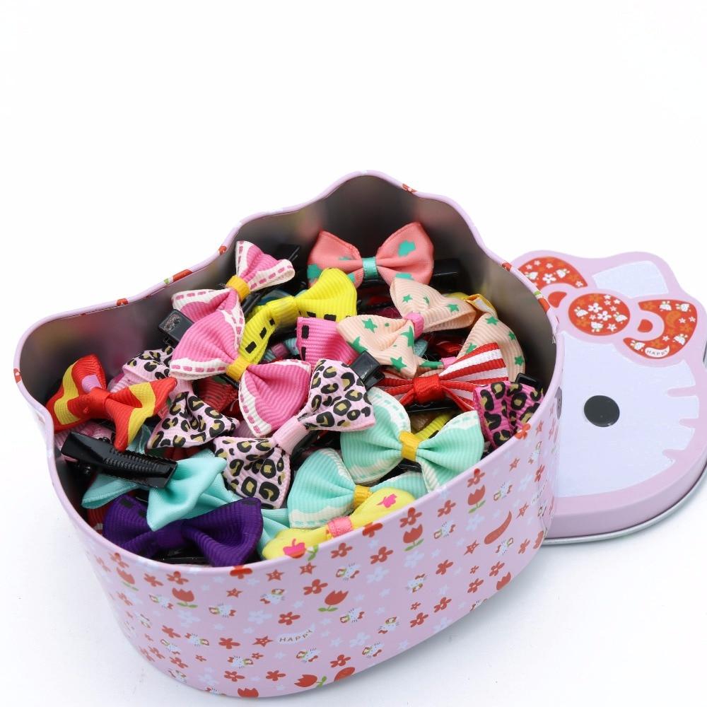 #AD17075 Cute Girls Children Hair Accessories 50pc Barrette With Hello Kitty Box Bowknot Princess Hairpins Ribbon Hair Clip цена 2017