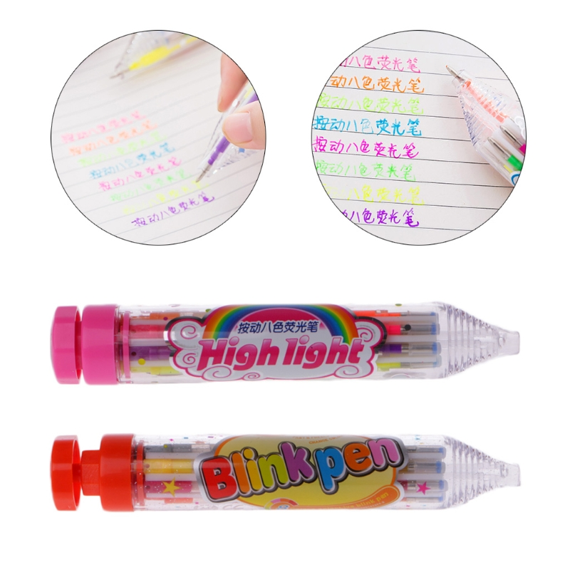 8 Colors Replaced Highlighter Cute Cartoon Paint Marker Flashing Pen Press Type for Children School Office Art Supplies