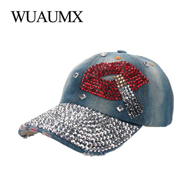 Kopfbedeckungen Für Damen Wuaumx Großhandel Baseball Kappen Für Frauen Mit Strass Bling Schönheit Mädchen Hysterese Kappe Für Weibliche Denim Kristall Hüte 7 Farben