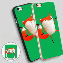 Happy Dancing Fox Phone Ring Holder Soft TPU Silicone Case Cover for iPhone 5 SE 5S 6 6S 7 Plus for women