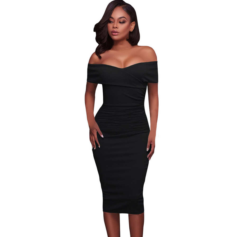 Women Sexy Off Shoulder Strapless Midi Dress Personalized wild Solid elegant High Quality dress Hot Selling New Arrival 2019