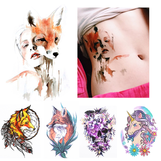 1 Sheet Temporary Tattoo Sticker KM-056 Flower Arm Body Art Waterproof Tattoo Beauty Fox Women Coquette Decal Design
