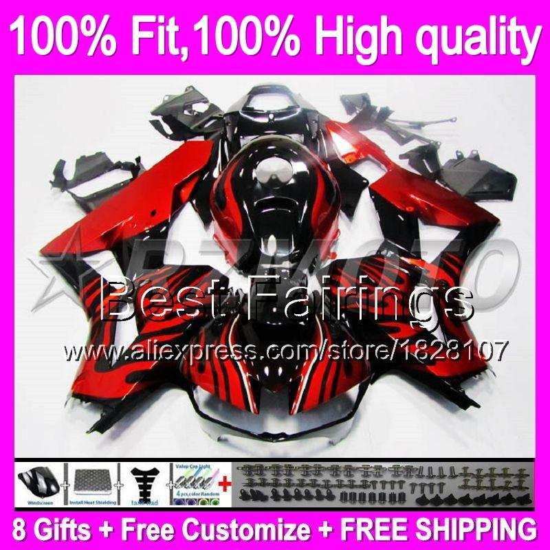 Fairing For HONDA CBR600RR 13-14 Red flames CBR600 RR F5 28B17 CBR 600RR Red black 600 RR 13 14 2013 2014 Injection +decal