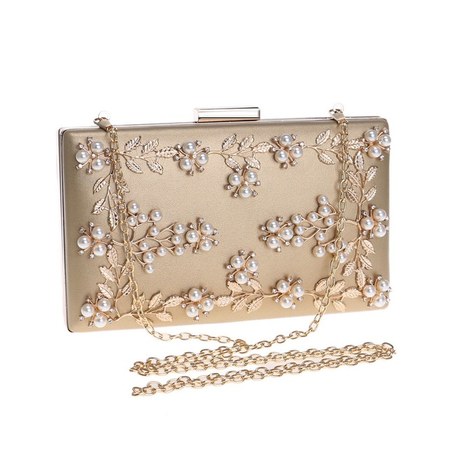 Fashion New Women Evening Clutch Bags PU Chain Shoulder Handbags Leaf Metal Beaded Evening Purse Messenger Bags 3