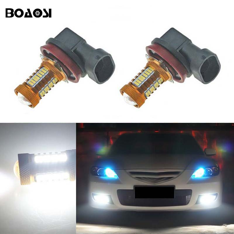 BOAOSI 2x Bright Error free H8 H11 LED Car projector Fog Light bulb For mazda 3 5 6 xc-5 cx-7 axela atenza Car Accessories 2 color changing custom car logo led light for mazda 3