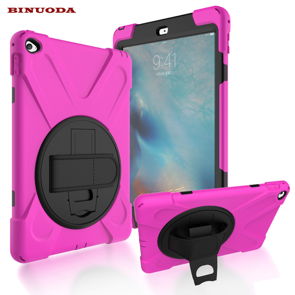 For Apple iPad Air 2 Shockproof Case 360 Degrees Rotatable Kickstand PU Hand Strap PC Silicone Kids Case Cover for iPad Air2 alabasta for apple ipad mini 1 2 3 case hand strap 360 degree rotation armor 7 9 inch kickstand pc silicone shockproof pen