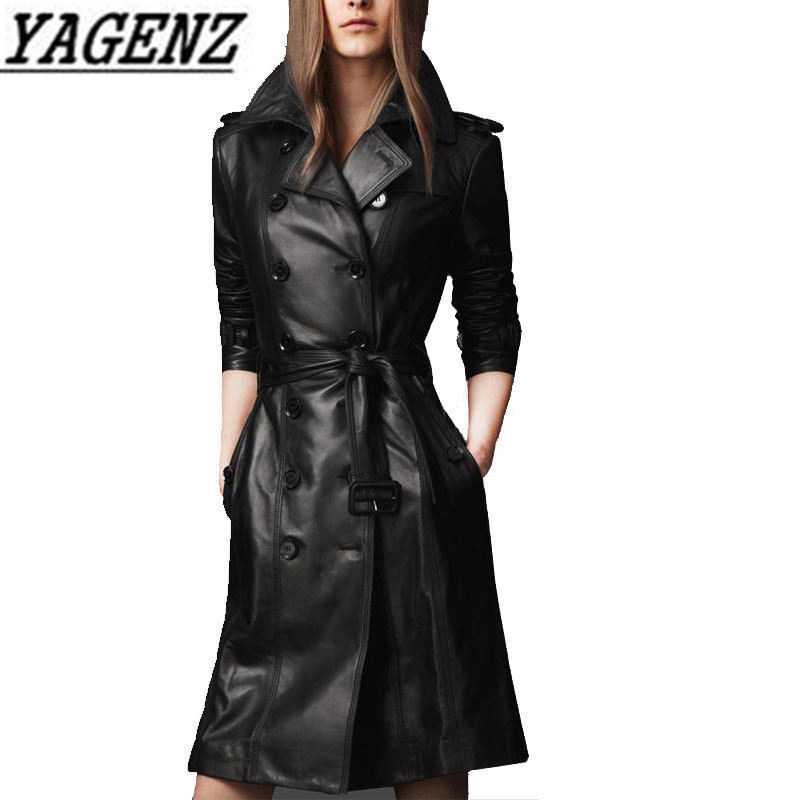 New 2018 Autumn/Winter Black PU   leather   Jacket coats Korean Slim belt Double breasted Windbreaker   Leather   Jacket Overcoat 4XL