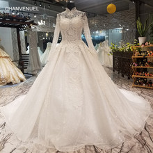 LS07871 muslim wedding gown with long train high neck long sleeve lace up bride  wedding dresses 2018 best seller quick shipping a6e07318861d