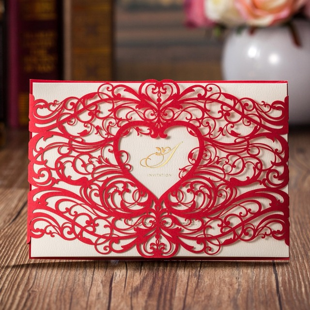 Us 58 06 Laser Cut Wedding Invitations Card Gold Red Hollow Heart Birthday Invites Cards For Iparty Invitation Favors Supplies Cw5017 In Cards