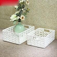 Creative paper rope woven storage box fresh basket books snacks debris clothes