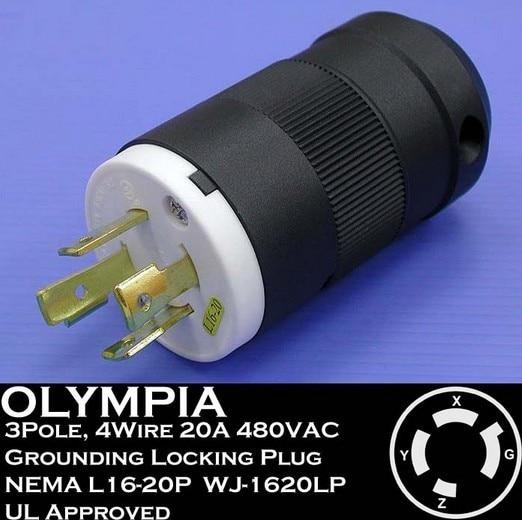 1620lp 20a, 480v 3-phase, nema l16-20p, 3p, 4w, locking plug, industrial  grade, grounding ul approved , american ac wiring plug