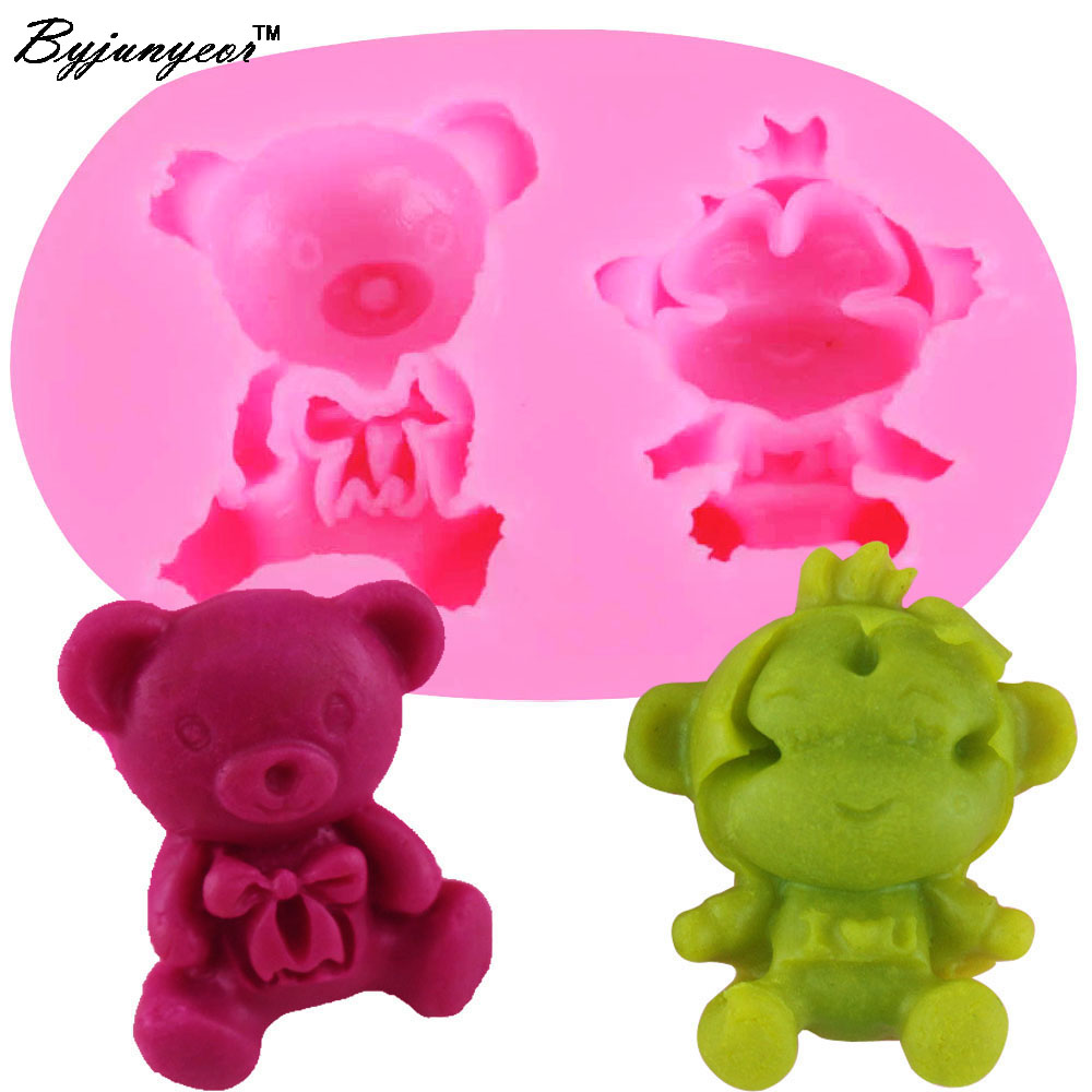 Byjunyeor F1018 Cute Bear&monkey Silicone Mold Chocolate