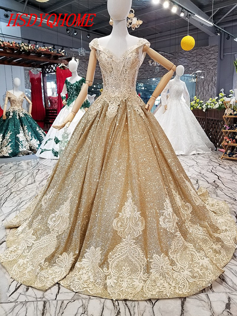 HSDYQHOME Luxury Gold Appliques   Evening     dresses   2018 Gold Sequines Prom party   Dresses   Amazing Vestidos   Evening   party gown