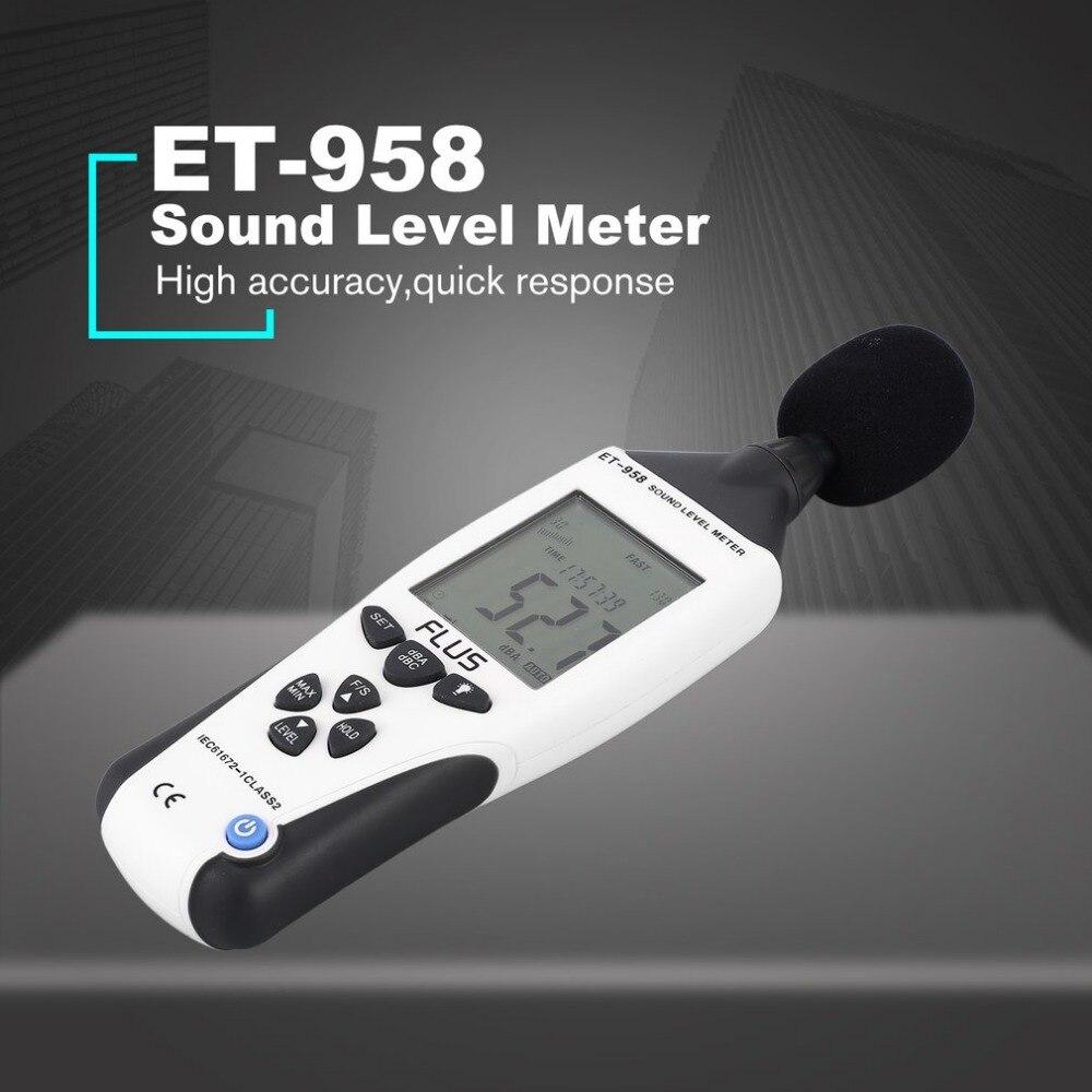 FLUS ET-958 sonomètre numérique testeur de bruit décibel enregistreur mesure Audio détecteur moniteur de Volume 30-130dB portable - 2