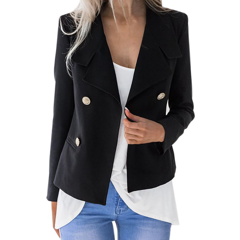Female Chic Design Jacket Office Lady Short Blazers Long Sleeve Buttons Blazer Casual Outwears Autumn Slim Solid Blazer