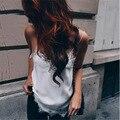 2016 Moda Sexy Alcinhas Branco Rendas de Croché Camis Tops Bandage Tops Mulheres Casual Básico Superior Camisola KP #543