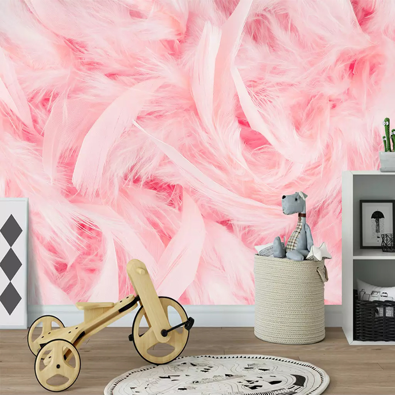 Custom Wallpaper Murals 3D Beautiful Pink Feather Wall Painting Photo Wall Paper For Living Room Bedroom Background Home Decor