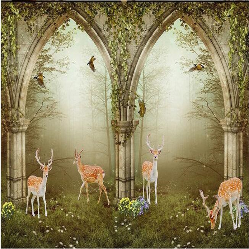 3d large wall wallpaper mural hd continental arches deer for Deer wallpaper mural