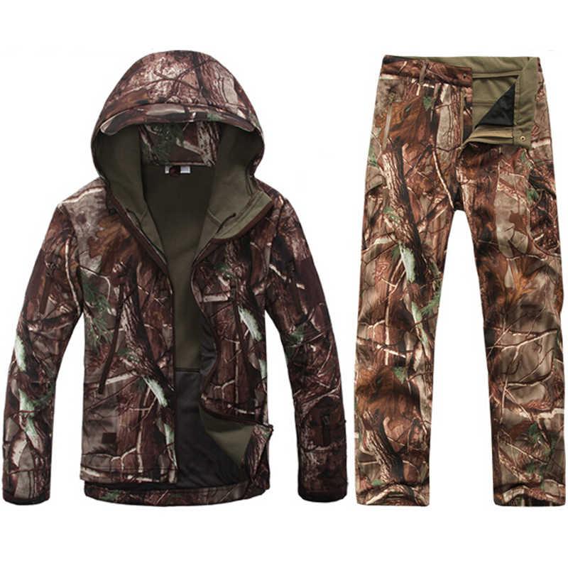 Tad Мужская тактическая куртка с мягкой оболочкой, армейский водонепроницаемый охотничий костюм, камуфляжная куртка с Акульей кожей, военная куртка, костюм
