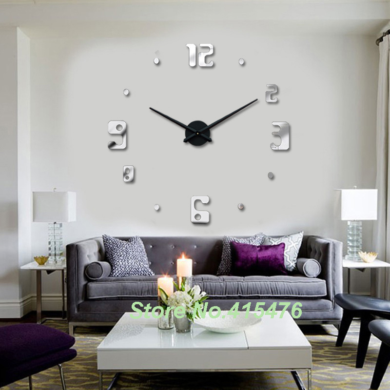 aliexpresscom buy new trendy house home decor item diy large wall clock 3d stickers design silver mirror acrylic shinny clocks from reliable clock - Home Decor Item