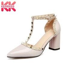 Купить с кэшбэком KemeKiss Women High Heel Sandals Genuine Leather Brand Shoes Women Sexy Rivets Pointed Toe Buckle Wedding Sandals Size 33-43
