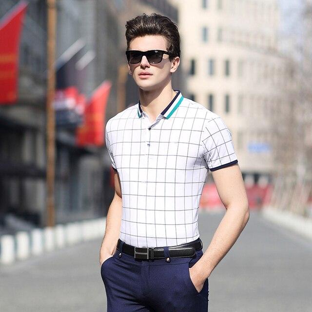 Новинка мужской летней мода классический контрастного цвета полосы бизнес свободного покроя рубашки поло