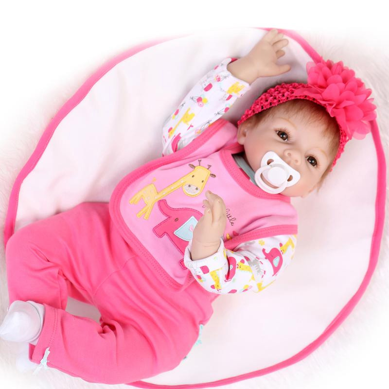 New 22 Quality Silicone Reborn cotton body babies cute lovely dolls Collection Silicone baby reborn doll for girl birthday gift 22 inches sweet girl dolls brown hair 55cm doll reborn baby lovely toys cute birthday gift for girls as american girl