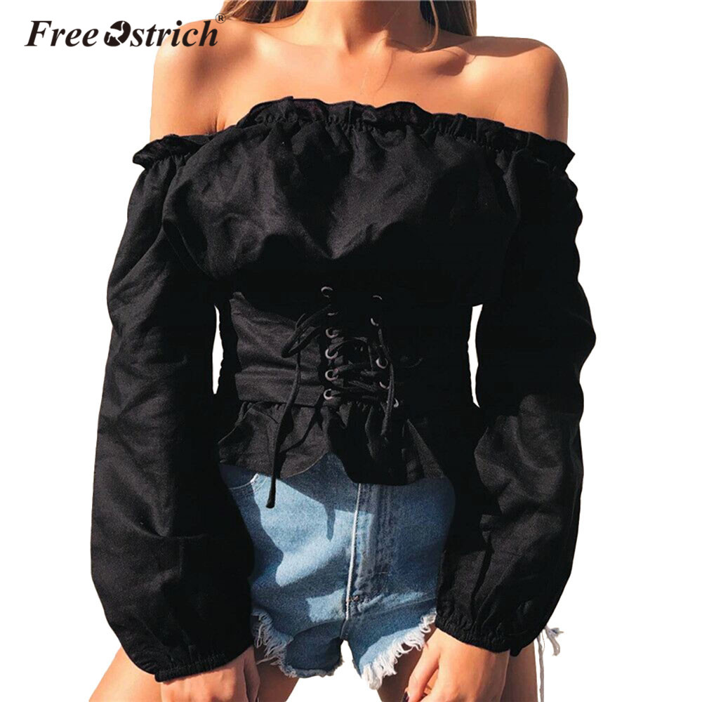 Free Ostrich Blouse Women Autumn Chiffon Solid Casual 2019 Off Shoulder Shirt Sexy Long Sleeve Top Belt Blouse L0830