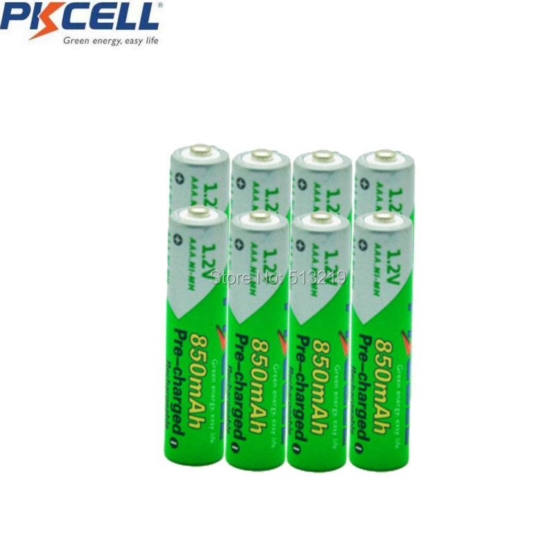 8Pcs*PKCELL Battery AAA Pre-charged NIMH 1.2V 850mAh Ni-MH Rechargeable Batteries Up to 1000mAh