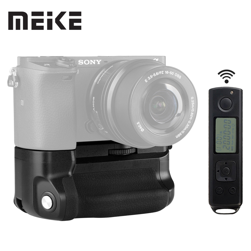 Meike MK-A6300 pro Battery Grip Holder 2.4G Wireless Remote Control for sony A6000 A6300 work with 1or 2 NP-FW50 battery meike mk 760d pro built in 2 4g wireless control battery grip suit for canon 750d 760d as bg e18