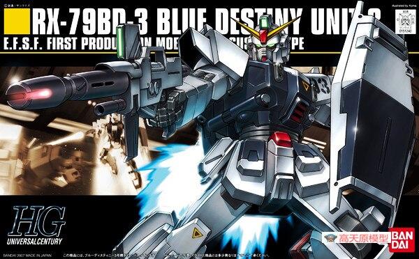 1PCS Bandai 1/144 HGUC 082 1/144 RX-79BD-3 Blue Destiny Mobile Suit Assembly Model Kits lbx toys education toys hguc 155 rx 79[g] ez 8 1 144 up to even airborne backpack