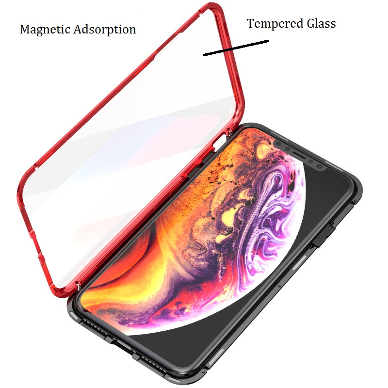 360 full Magnetic Adsorption Case for iPhone XR XS MAX X 8 7 Plus Tempered Glass The front Back  Cover for iPhone 7 8 Plus Cases
