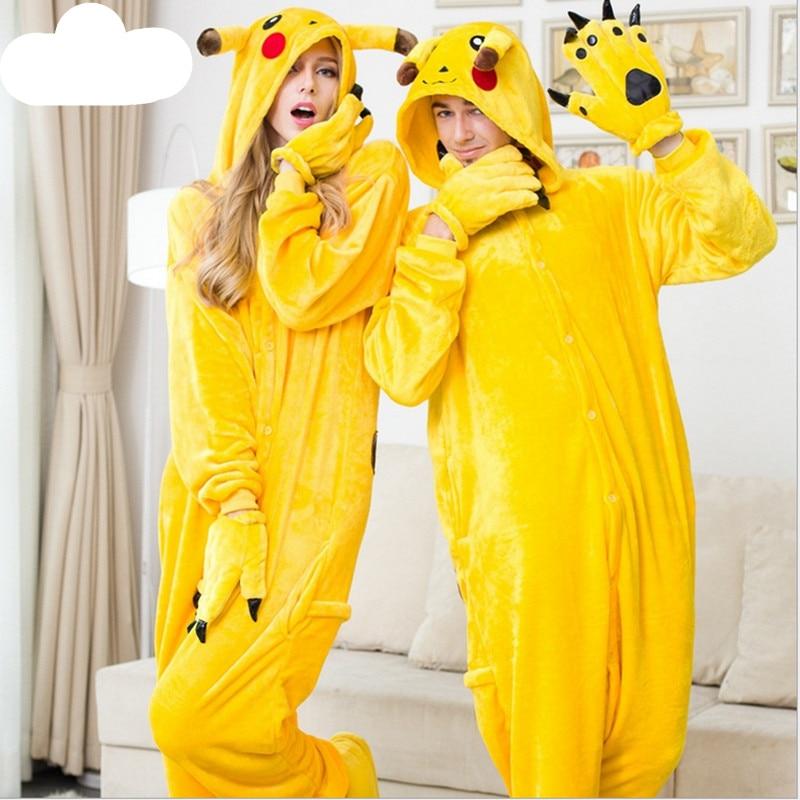 2016 Pokemon Pikachu Unisex Adult Sleepwear Pajamas Carnival Christmas Women Anime Cosplay Halloween Costume Flannel Hoodie