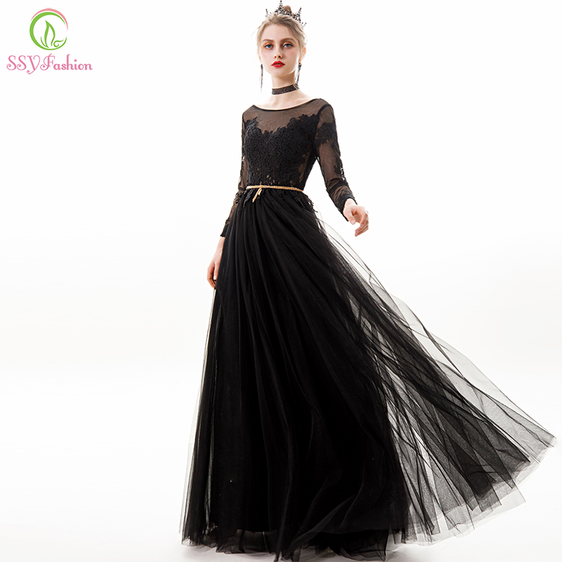 SSYFashion New Black Evening Dress Robe De Soiree Long Sleeve Foor-length Elegant Lace Appliques Backless Party Formal Gowns