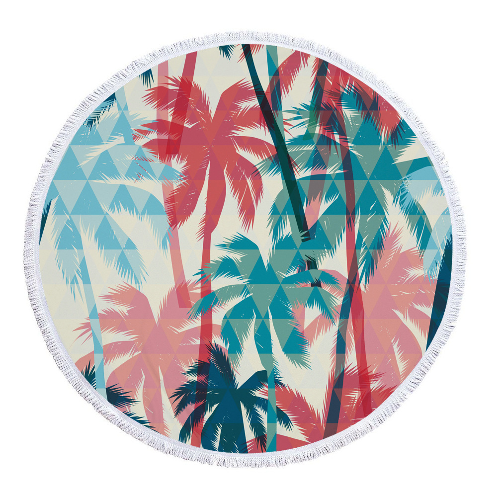 Summer Palm Tree Leaf Banana Printed Large Big Microfiber Beach Towel Round With Tassels Beach Mat Diameter 150cm Drap De Plage