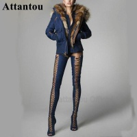 Fashion Blue Denim Jeans Crotch Designer Thin High Heel Boots Women Over The Knee Thigh High Long Booty Lace Up Slim Fit Boots