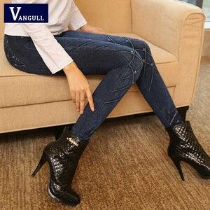 Image 2 - Vangull Frauen Leggings Faux Denim Jeans Leggings Sexy Lange Tasche Druck Frühling Winter Leggings Casual Bleistift Hosen Plus größe