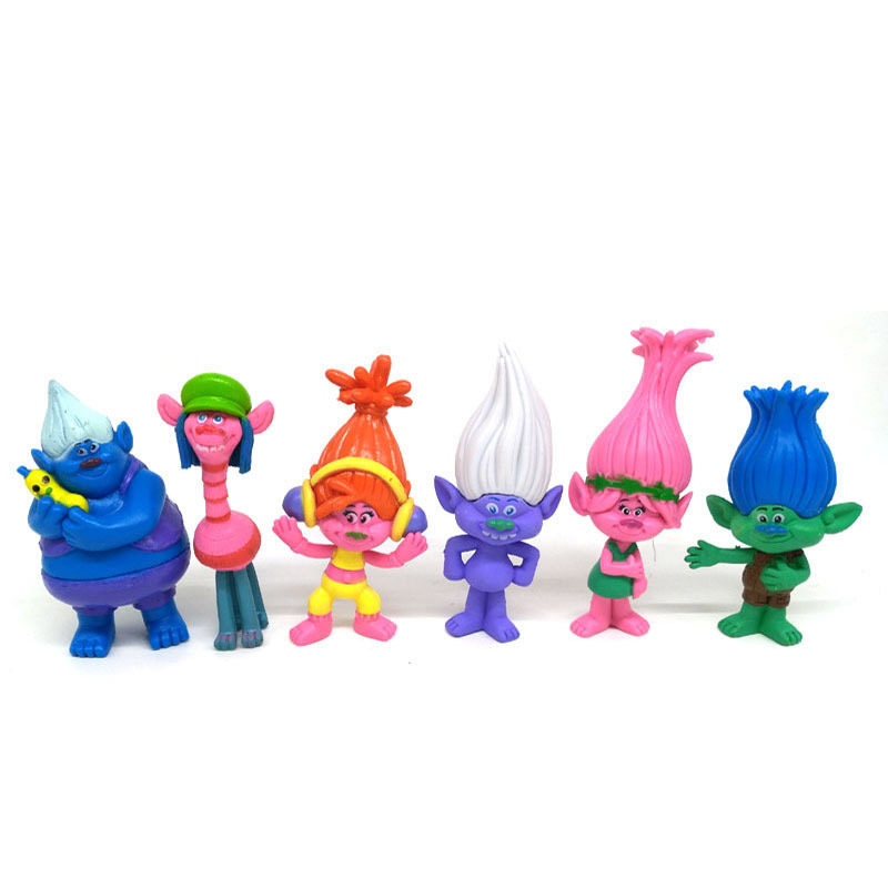 6pcs/set 3D Dreamworks Trolls Action Figurines Play Set Movie Cartoon Magic Long Hair Miniatures Dolls Toys Kids Children gifts