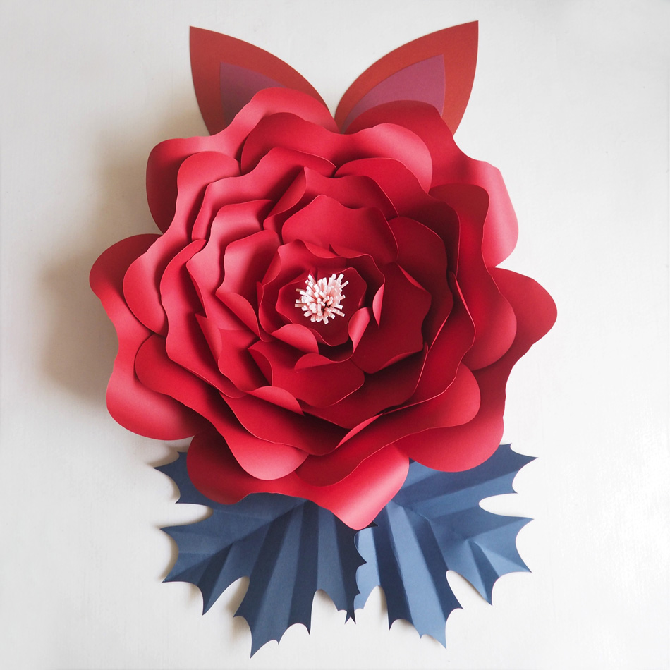 Us 34 17 25 Off Diy Large Giant Paper Flowers Rose Fleurs Backdrops 1 Piece 2 Leaves 2 Ears For Wedding Decorations Nursery Video Tutorial In