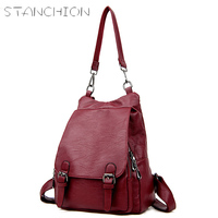 STANCION Leather Backpack For Women Students School Bag For Youth Girls With Purse Mochila