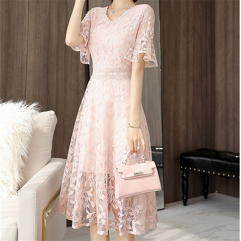 99df5a85102c9 Young Gee Spring Summer Women Runway Dresses Lace Embroidery Floral ...