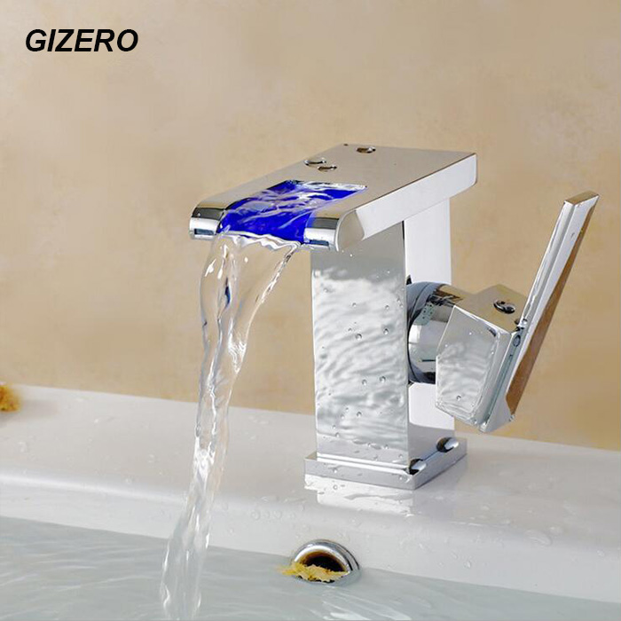 GIZERO Bathroom LED Faucet no need battery Basin Sink Taps Temperature Control 3 Color Change Solid