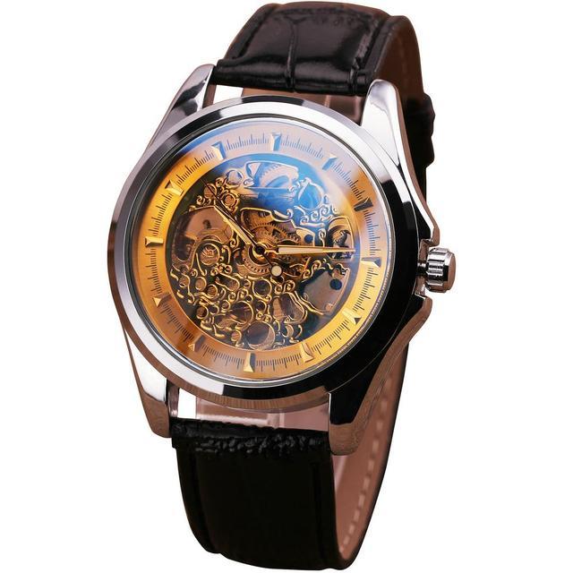 Limited Royal diseño cristal azul Formal de oro mecánico de lujo del reloj de hombre de negocios precisos aniversario presente + caja de regalo