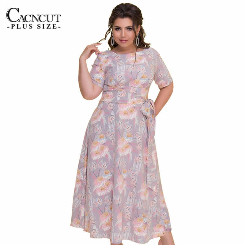 CACNCUT Fashion Women 2018 Plus Size 6XL Summer Vintage Flower Print Dress  Sashes Backless Elegant Big 59870b7df49b