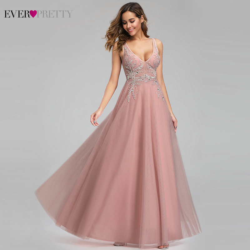 Elegant Prom Dresses Ever Pretty Sexy Pink Beaded V-neck A-line Illusion Evening Party Gowns EP00901 Gala Jurken Dames 2019