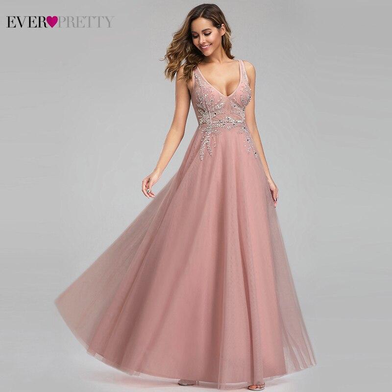 Robes de bal élégantes jamais assez Sexy rose perlé v-cou une ligne Illusion robes de soirée EP00901 Gala Jurken Dames 2019
